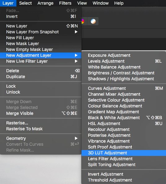 New 3D LUT Adjustment Layer