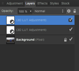 Duplicated 3D LUT Adjustment Layer