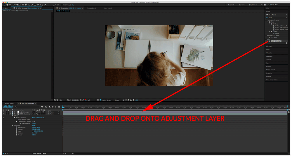 Drag and Drop onto Adjustment Layer