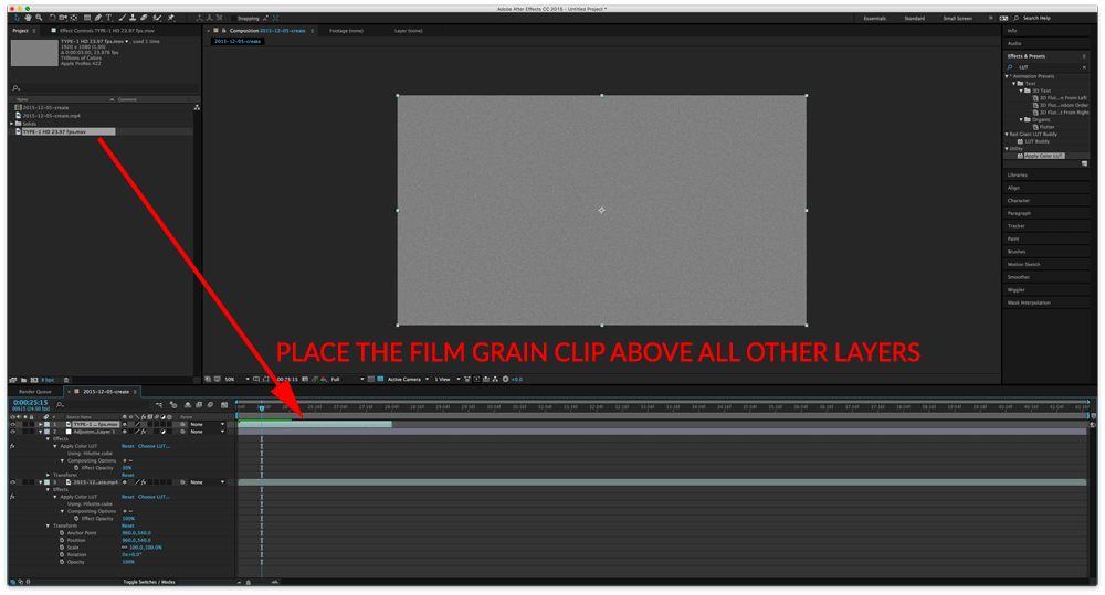 Place film grain clip above other layers