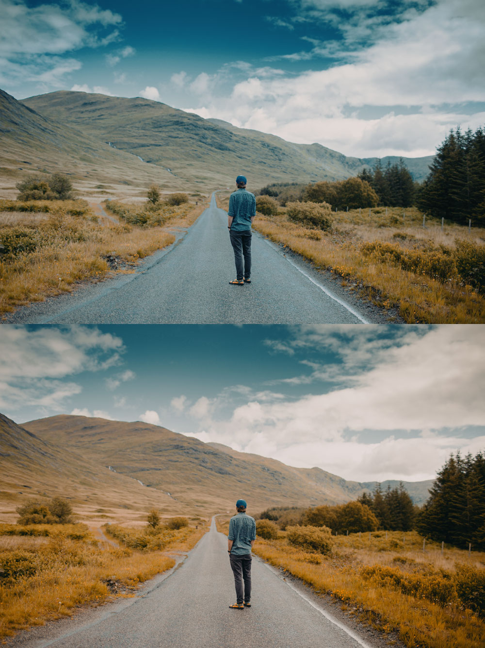 Here we have the same LUT applied to correctly white balanced image (bottom) and to an image shot with cooler white balance (top). As we can see, the results are very different.